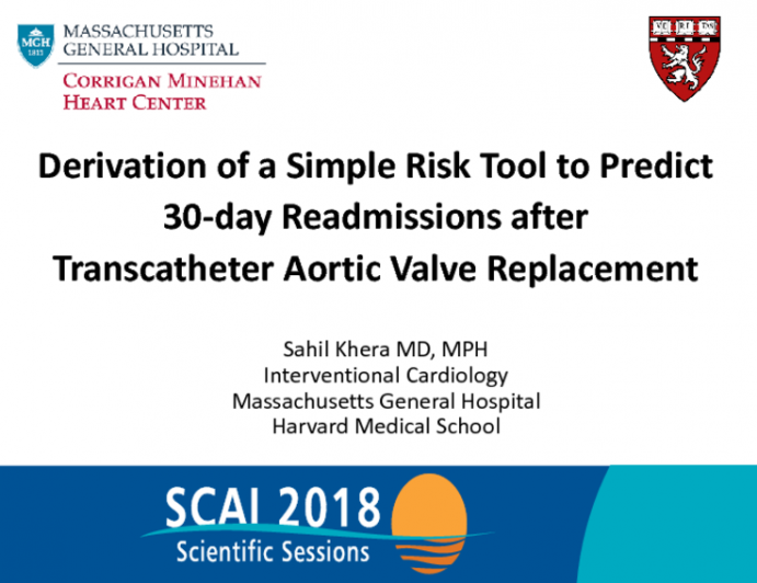 Derivation of a Simple Risk Tool to Predict 30-day Readmissions after Transcatheter Aortic Valve Replacement