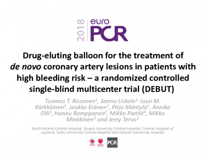 Drug-eluting Balloon for the Treatment of de novo Coronary Artery Lesions in patients with high bleeding risk –a randomized controlled single-blind multicenter trial (DEBUT)