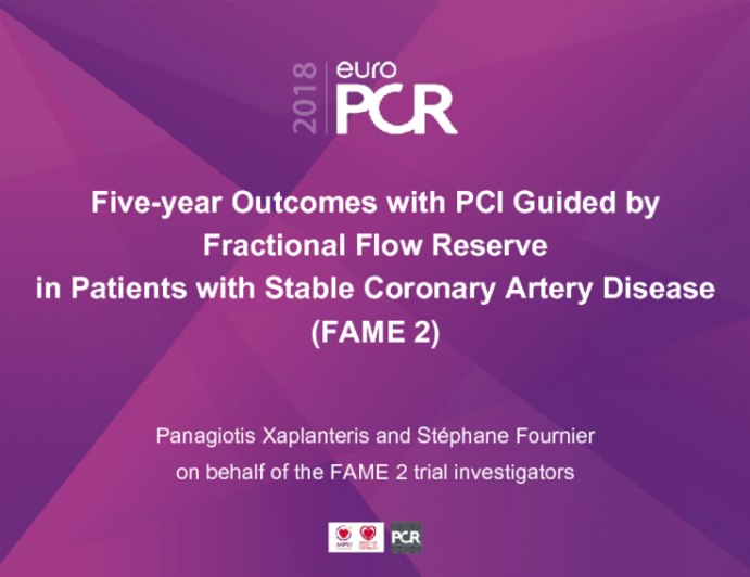 Five-year Outcomes with PCI Guided by Fractional Flow Reservein Patients with Stable Coronary Artery Disease(FAME 2)