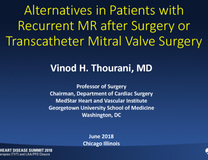 Clinical Management Alternatives in Patients With Recurrent MR (After Either Surgical or Transcatheter MV Repair)