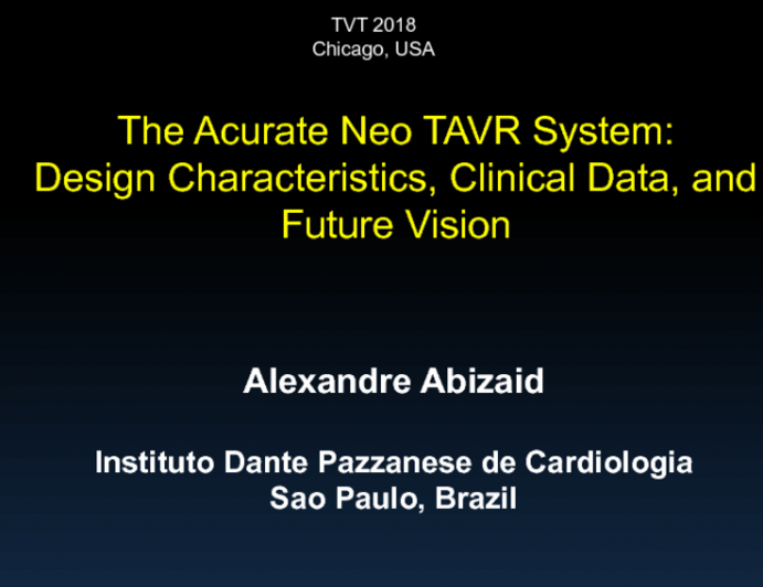 Program Update: The ACCURATE NEO TAVR System - Design Characteristics, Clinical Data, and Future Vision