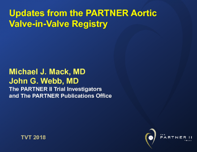 Updates from the PARTNER Aortic Valve-in-Valve Registry