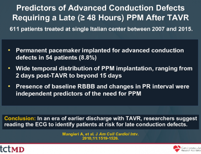 Predictors of Advanced Conduction Defects Requiring a Late (≥ 48 Hours) PPM After TAVR