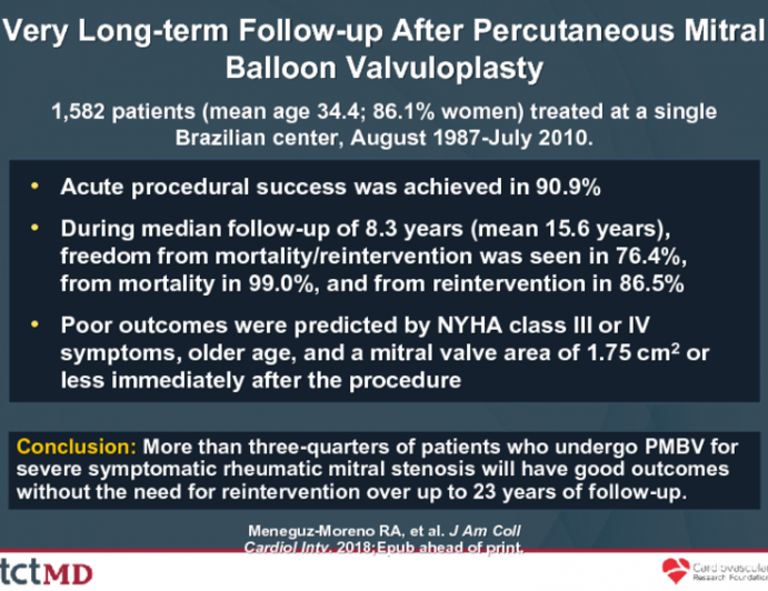 Very Long-term Follow-up After Percutaneous Mitral Balloon Valvuloplasty