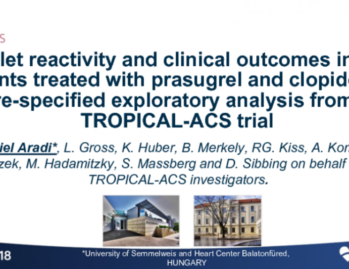 TROPICAL-ACS: Platelet Reactivity and Clinical Outcomes in Acute Coronary Syndrome Patients Treated With Prasugrel and Clopidogrel
