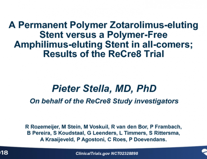 ReCre8: A Randomized Trial Evaluating a Polymer-Free Coronary Drug-Eluting Stent in an All-Comers Patient Population