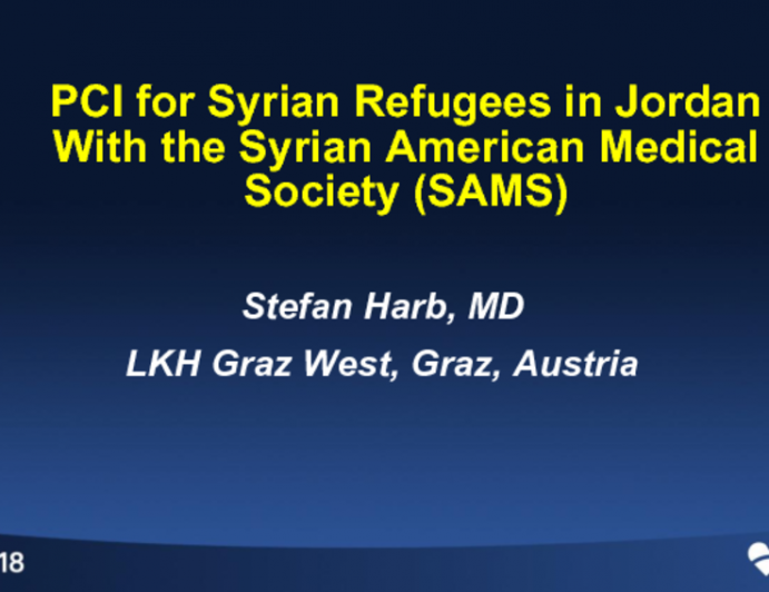 PCI for Syrian Refugees in Jordan With the Syrian American Medical Society (SAMS)