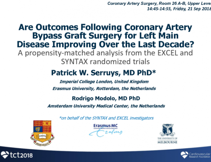 TCT-106: Are Outcomes Following CABG for Left Main Disease Improving Over the Last Decade? A Propensity-Matched Analysis From the EXCEL and SYNTAX Randomized Trials
