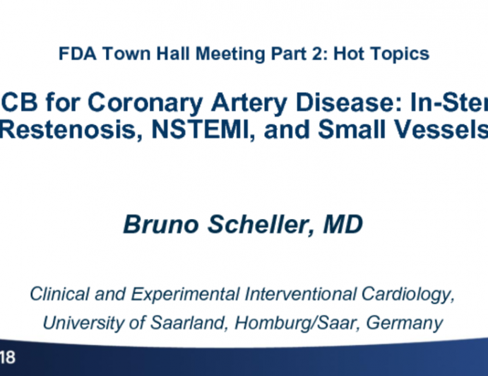 DCB for Coronary Artery Disease: In-Stent Restenosis, NSTEMI, and Small Vessels