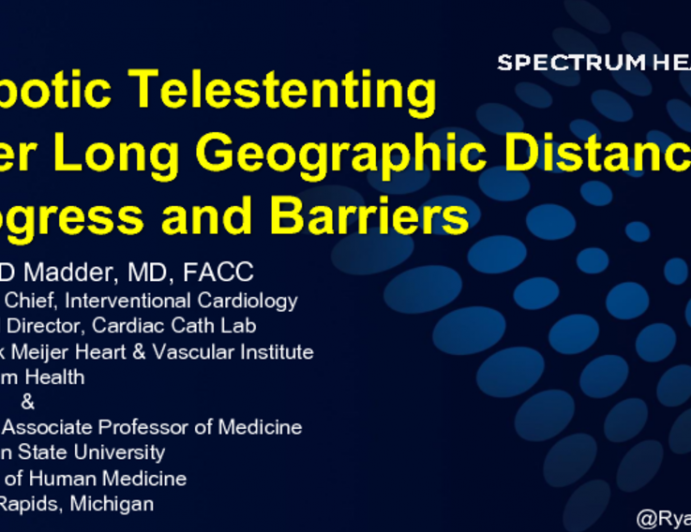 Robotic Tele-Stenting Over Long Geographic Distances: Progress and Barriers