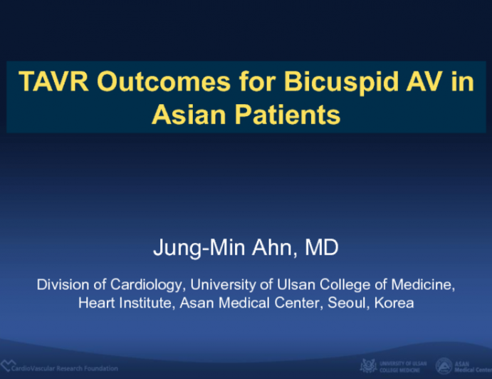 TAVR Outcomes for BAV in Asian Patients