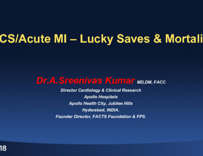 Acute MI and ACS Cases: Mortality and Fortunate Saves