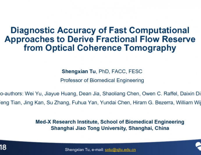 TCT-40: Diagnostic Accuracy of Intracoronary Optical Coherence Tomography-based Quantitative Flow Ratio for Assessment of Coronary Stenosis