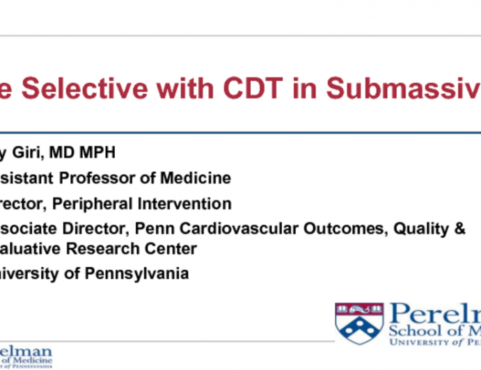 First Debate: Catheter-Directed Thrombolysis Should Be Reserved for Selected Submassive PE!