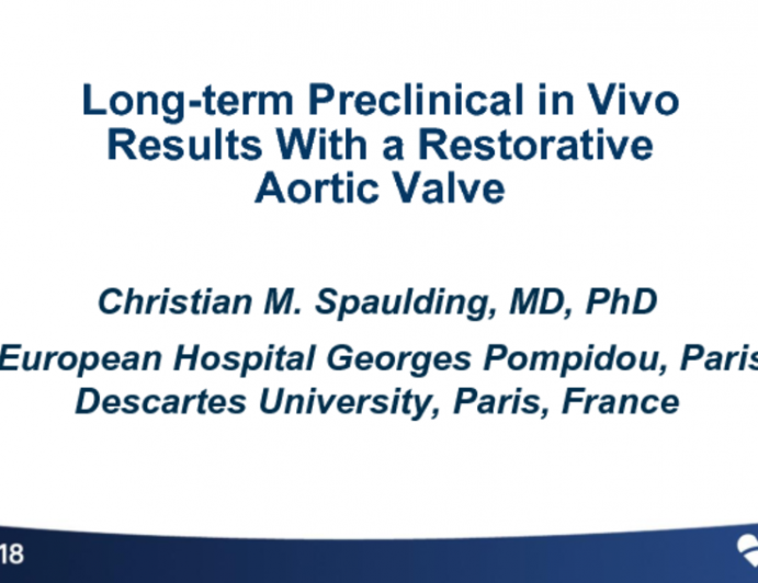 TCT-5: Long-term Preclinical in Vivo Results With a Restorative Aortic Valve