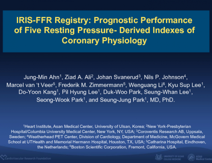 IRIS-FFR: Prognostic Performance of Five Resting Pressure-Derived Indexes of Coronary Physiology