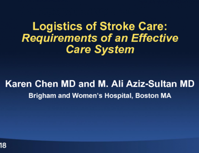 Logistics of Stroke Care: Requirements of an Effective Care System