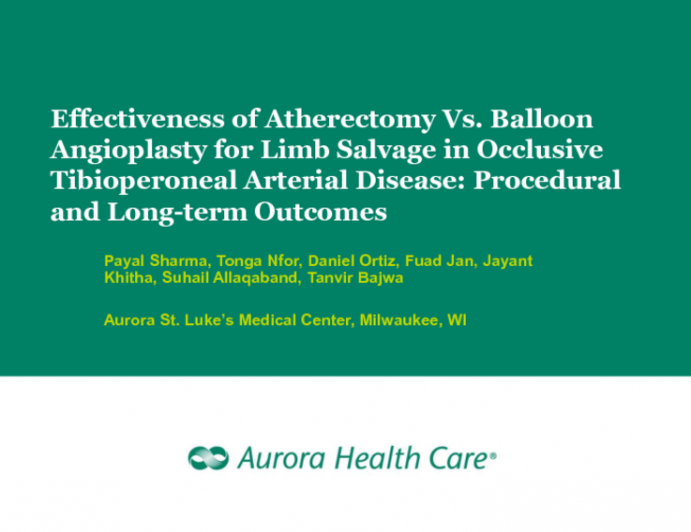 TCT-113: Effectiveness of Atherectomy vs Balloon Angioplasty for Limb Salvage in Occlusive Tibioperoneal Arterial Disease