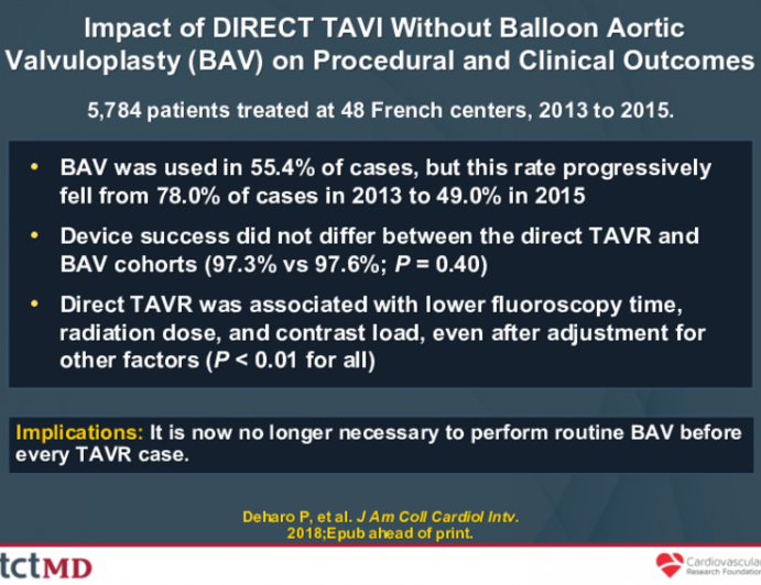 Impact of DIRECT TAVI Without Balloon Aortic Valvuloplasty (BAV) on Procedural and Clinical Outcomes