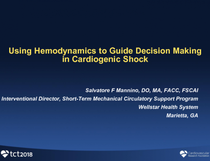 Using Hemodynamics to Guide Decision-Making in Cardiogenic Shock