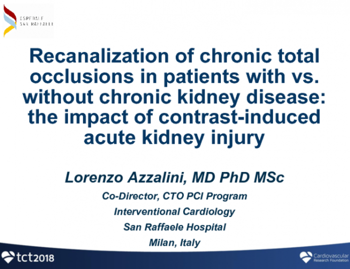 TCT-26: Recanalization of Chronic Total Occlusions in Patients With vs Without Chronic Kidney Disease: the Impact of Contrast-Induced Acute Kidney Injury