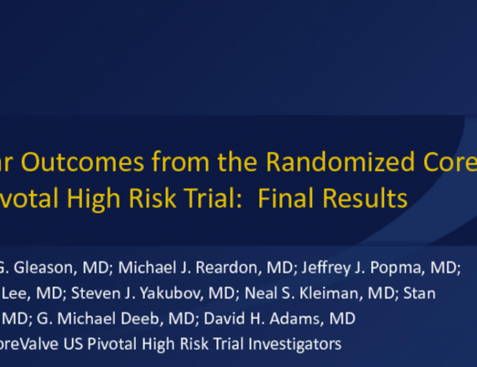 TCT-13: 5-Year Outcomes From the Randomized Corevalve USPivotal High Risk Trial: Final Results