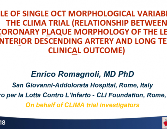 TCT-53: Role of Single OCT Morphological  Variable in the CLIMA Trial (Relationship between Coronary pLaque morphology of the left anterIor descending artery and long terM clinicAl outcome)