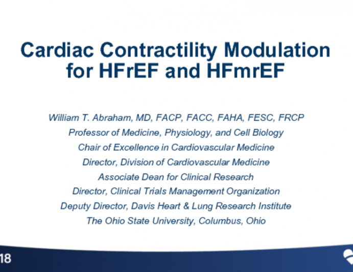 Cardiac Contractility Modulation for HFrEF and HFmrEF