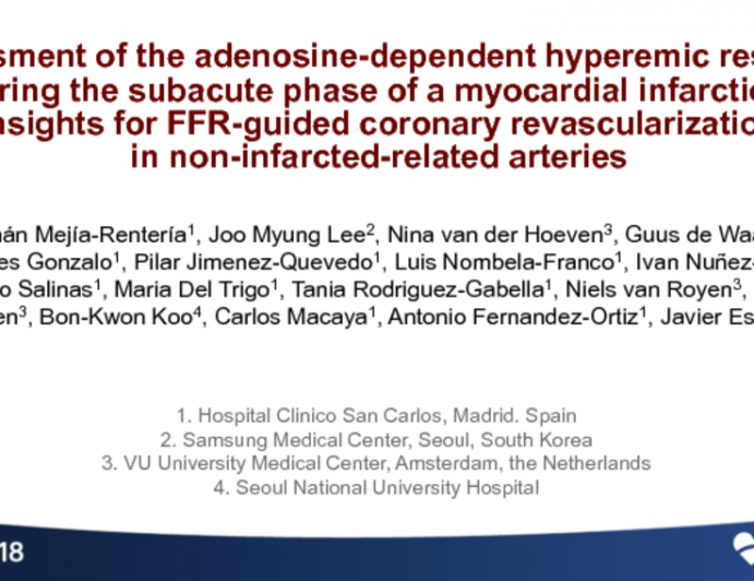 TCT-11: Assessment of the Adenosine-Dependent Hyperemic Response During the Subacute Phase of a Myocardial Infarction: Insights for FFR-Guided Coronary Revascularization in Non-Infarcted-Related Arteries