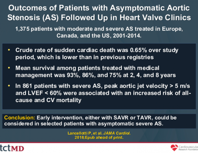 Outcomes of Patients with Asymptomatic Aortic Stenosis (AS) Followed Up in Heart Valve Clinics