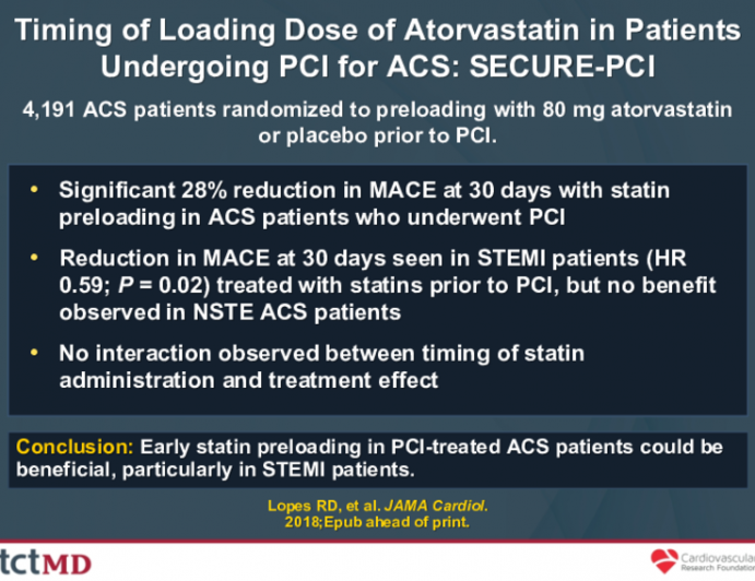 Timing of Loading Dose of Atorvastatin in Patients Undergoing PCI for ACS: SECURE-PCI