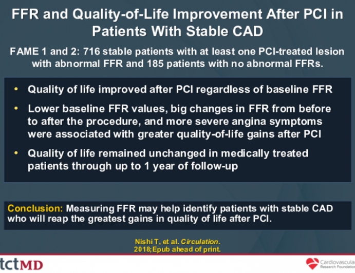 FFR and Quality-of-Life Improvement After PCI in Patients With Stable CAD