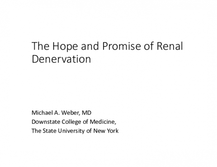 The Hope and Promise of Renal Denervation