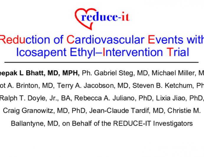 REDUCE-IT Trial: Reduction of Cardiovascular Events with Icosapent Ethyl–Intervention Trial