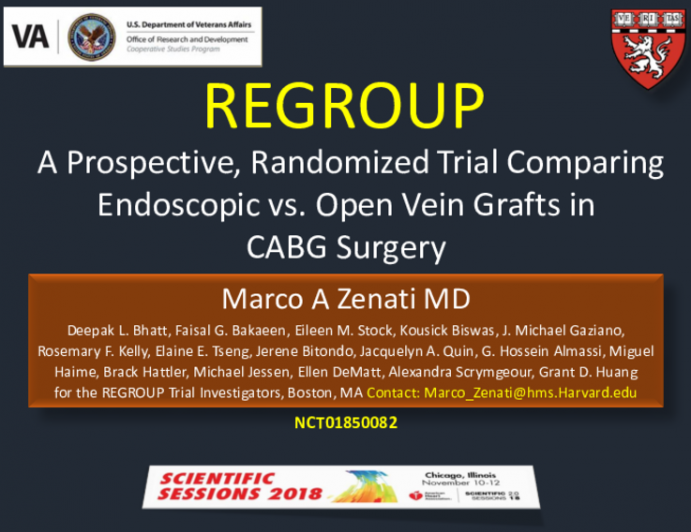 REGROUP Trial: A Prospective, Randomized TRial Comparing Endoscopic vs. Open Vein Grafts in CABG Surgery