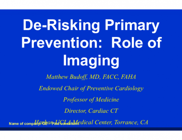 De-Risking P rimary P revention: Role of Imaging