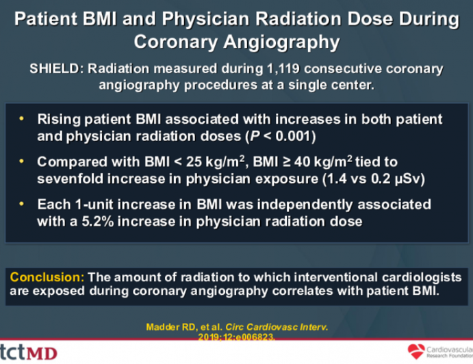Patient BMI and Physician Radiation Dose During Coronary Angiography