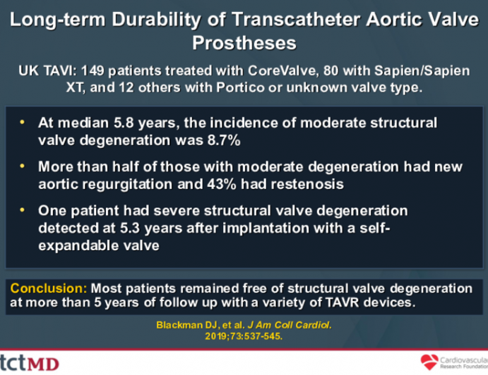 Long-term Durability of Transcatheter Aortic Valve Prostheses