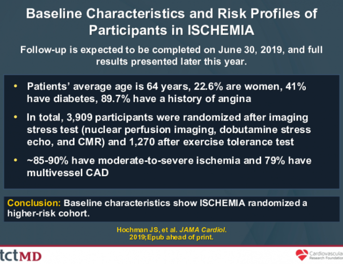 Baseline Characteristics and Risk Profiles of Participants in ISCHEMIA