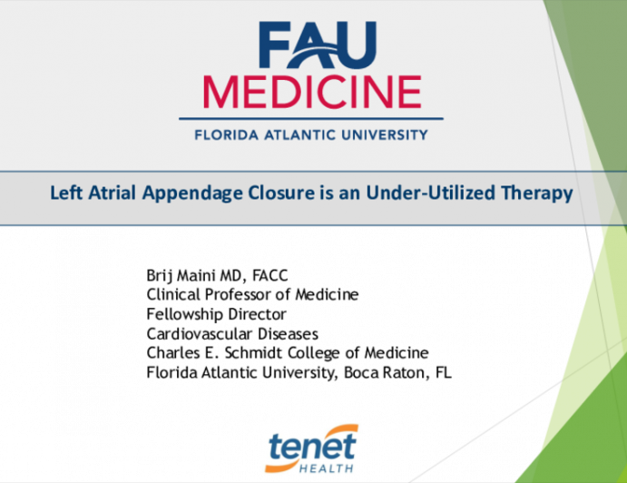 Left Atrial Appendage Closure is an Under-Utilized Therapy