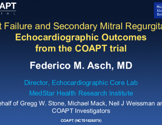 Heart Failure and Secondary Mitral Regurgitation:Echocardiographic Outcomes from the COAPT trial