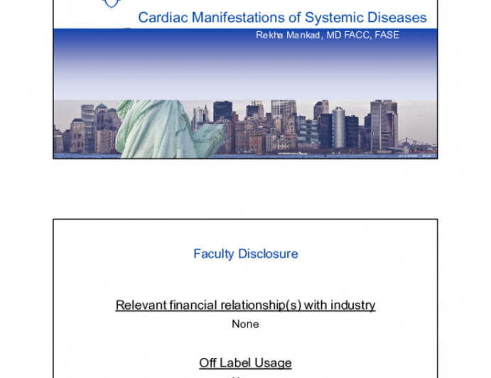 Cardiac Manifestations of Systematic Diseases