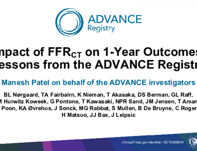 Impact of FFRCT on 1-Year Outcomes: Lessons from the ADVANCE Registry
