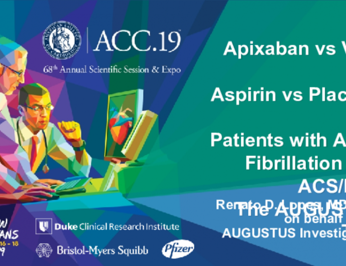 Apixaban vs VKA and Aspirin vs Placebo in Patients with Atrial Fibrillation and ACS/PCI: The AUGUSTUS Trial