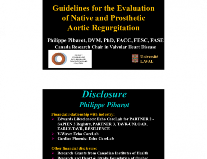 Guidelines for the Evaluation of Native and Prosthetic Aortic Regurgitation