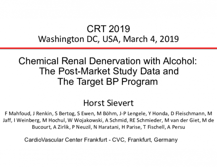 Chemical Renal Denervation with Alcohol: The Post-Market Study Data and The Target BP Program