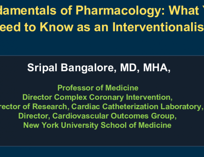 Fundamentals of Pharmacology: What You Need to Know as an Interventionalist