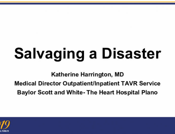 Salvaging a Disaster