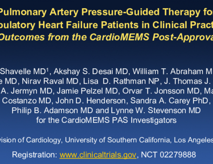 1-Year Outcomes from the CardioMEMS Post-Approval Study