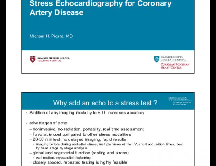 Stress Echocardiography for Coronary Artery Disease